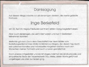 Danksagung Inge Berkefeld